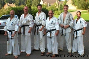 Hanshi with the 5 new Chelmsford 2nd Dans 2003